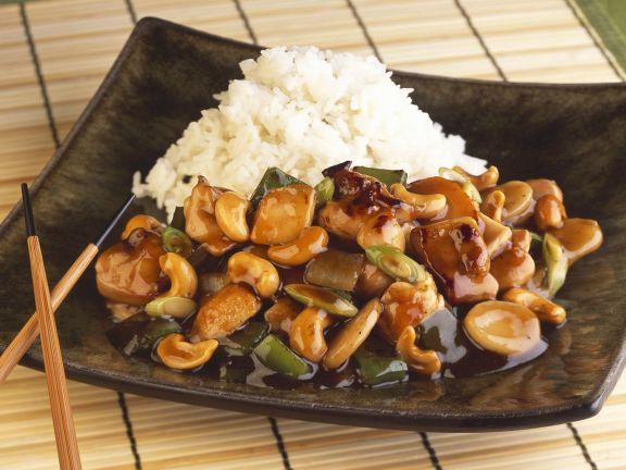 asiatische h hnchenpfanne mit cashewn ssen rezept eat smarter. Black Bedroom Furniture Sets. Home Design Ideas