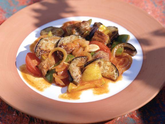 Auberginen-Paprika-Pfanne