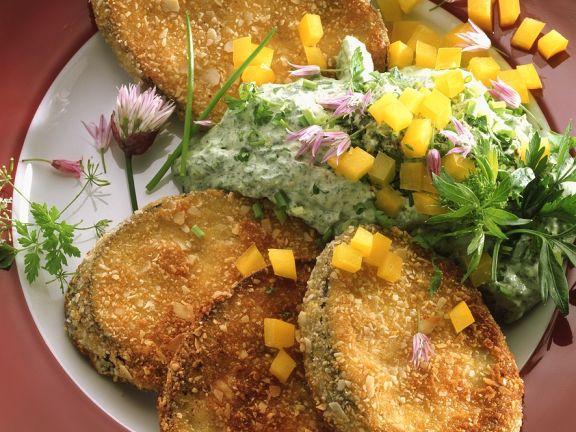 Auberginen-Schnitzel mit Quark