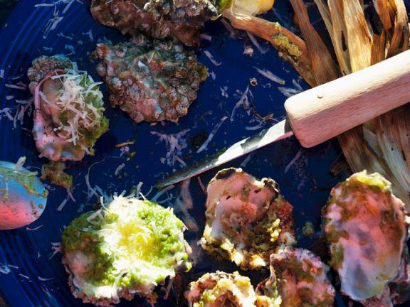 Austern mit Kräutersauce