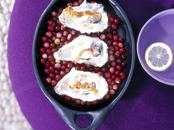 Austern mit Räucherschinken auf Cranbeeriebett