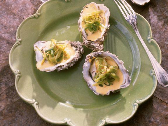 Austern mit Safran und Lauch