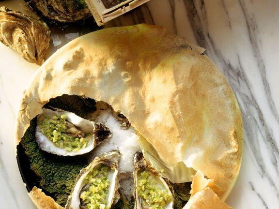 Austern mit Teighaube