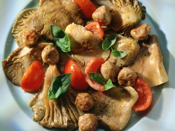 Austernpilze mit Tomaten und Mettbällchen