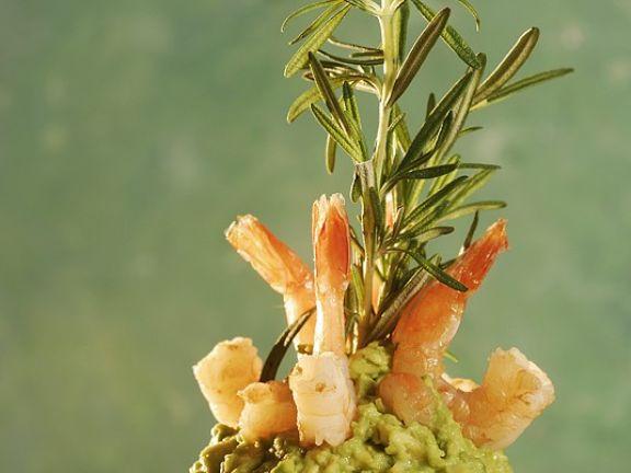 Avocadocreme mit Garnelen