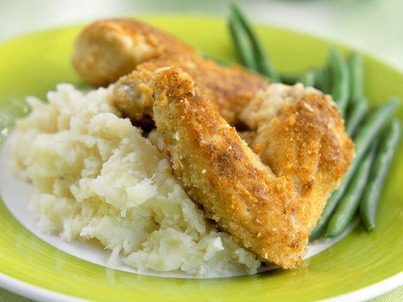 Backhähnchen mit Kartoffelpüree und Bohnengemüse