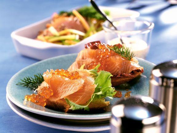 Baguette mit gebeiztem Fisch