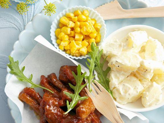 Barbecue-Hüftsteak mit Kartoffelsalat