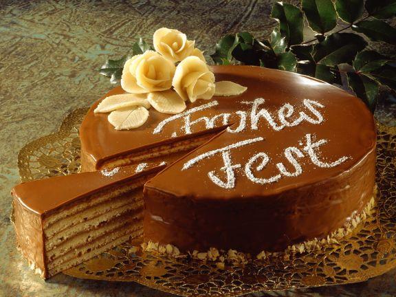 Baumkuchen-Torte mit Schokolade