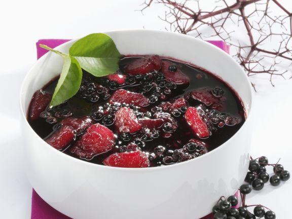 Birnen-Holunderbeeren-Suppe