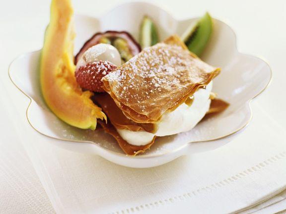 Blätterteig-Sahne-Lasagne mit exotischem Obst