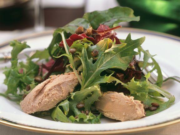 Blattsalat mit Gänselebercreme