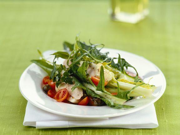 Blattsalat mit Kaninchen