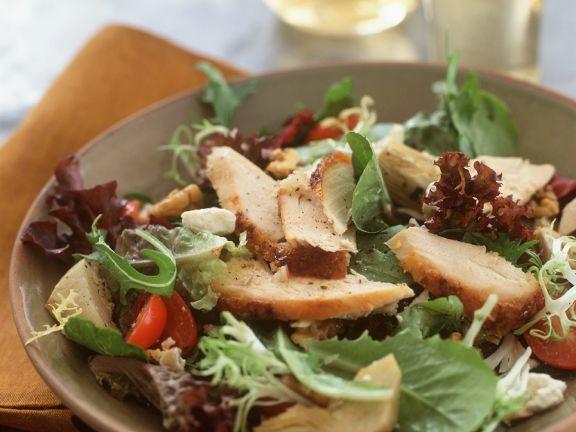 Blattsalat mit Putenbrust