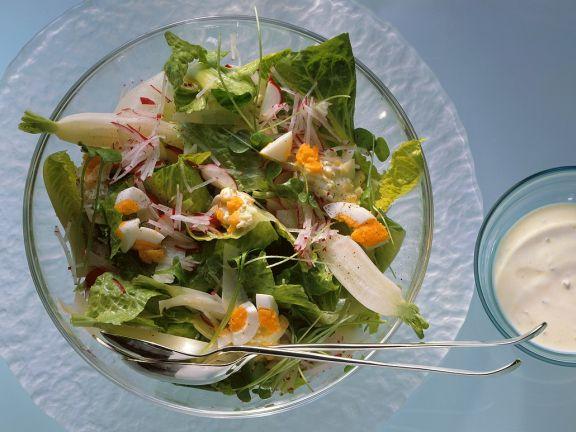 Blattsalat mit Rettich und Ei