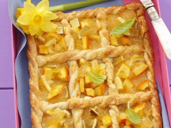 Blechkuchen mit Zitrusfrüchten auf polnische Art (Mazurek)