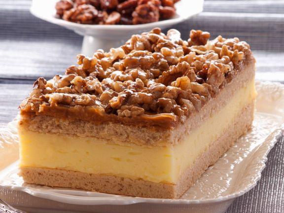 Blechkuchen Schnitten Mit Vanillecreme Und Walnussen Rezept Eat