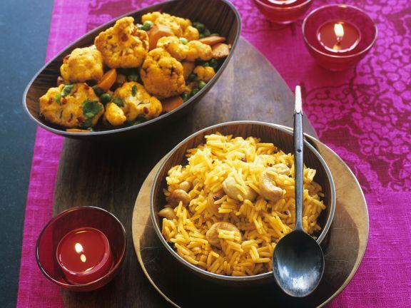 Blumenkohl-Curry mit Zitronen-Nuss-Reis