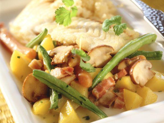 Bohnen-Champignon-Gemüse mit Kartoffeln