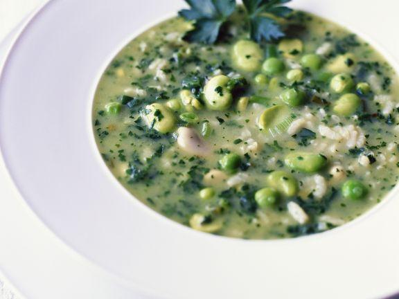 Bohnen-Erbsen-Suppe mit Reis