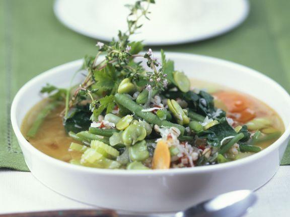 Bohnen-Gerste-Suppe mit Thymian