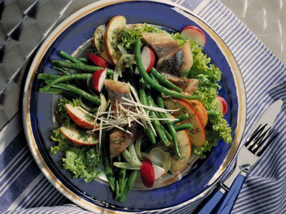 Bohnen-Zwiebel-Salat mit Matjes