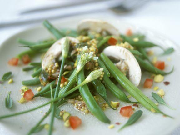 Bohnensalat mit Champignons und Senfdressing
