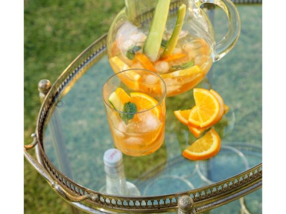 Bowle mit Gurke und Orange