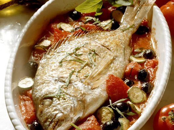 Brasse auf Tomatengemüse