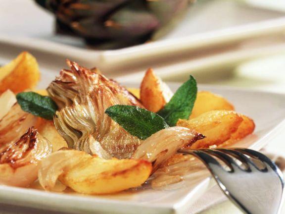 Bratkartoffeln mit Artischocken