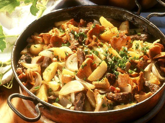 Bratkartoffeln mit Rind und Pilzen