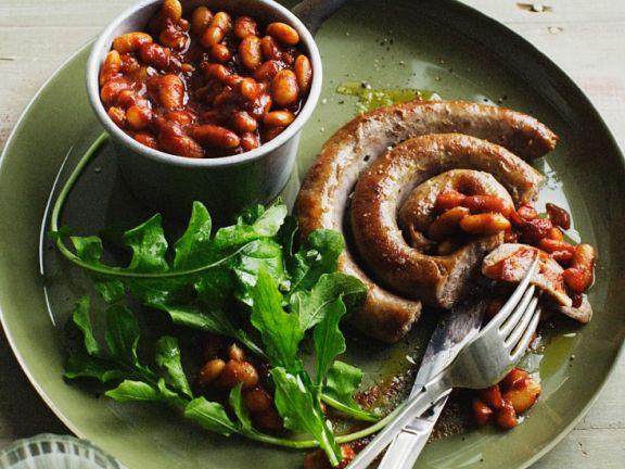 Bratwurst mit Bohnen
