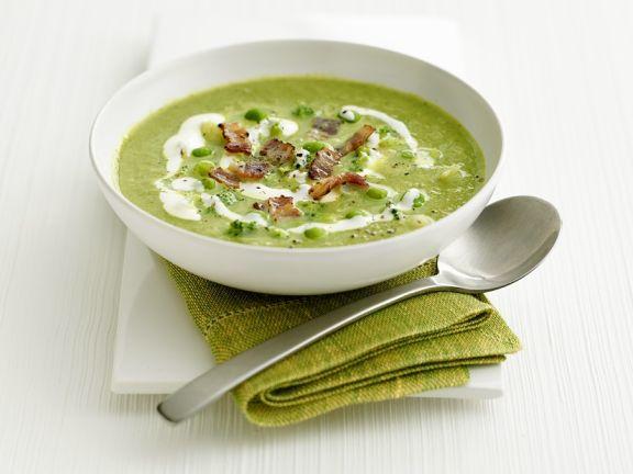 Brokkoli-Bohnen-Suppe mit Bacon