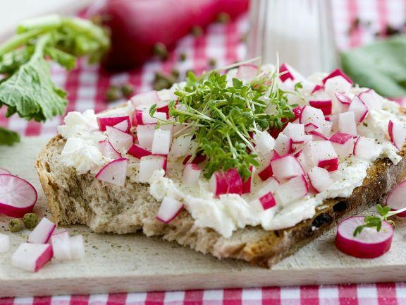 Brot mit Frischäse, Kresse und Radieschen