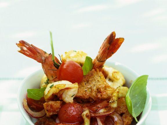 Brotsalat mit Shrimps