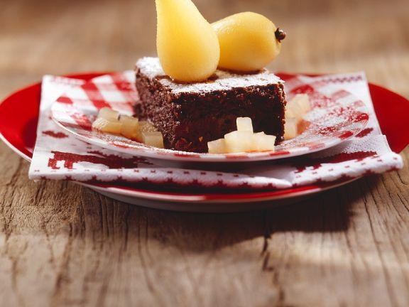 Brownie mit Birne