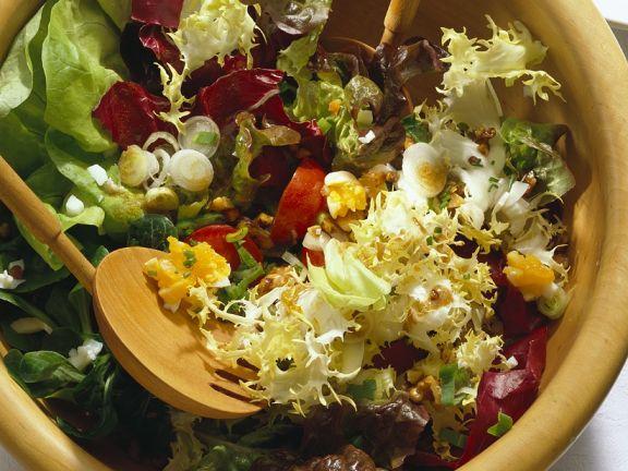 Bunter Blattsalat mit Eier-Dressing