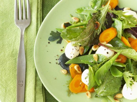 Bunter Blattsalat mit Mozzarella