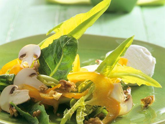 Bunter Salat mit Champignons und Frischkäse