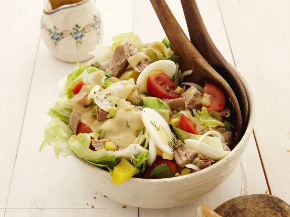 kalorienarmer thunfischsalat, bunter salat mit thunfisch und eiern rezept   eat smarter, Design ideen