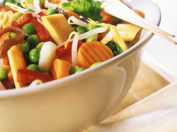 Buntes Gemüse mit Speck