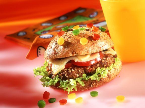 Burger mit Paprikaperlen