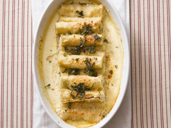 Cannelloni gefüllt mit Rucola-Ricotta und Krabbenfleisch