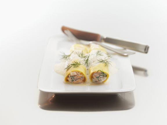 Cannelloni mit Lachs-Crevetten-Füllung