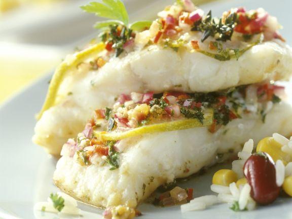 Catfish mit Marinade und Bohnenreis