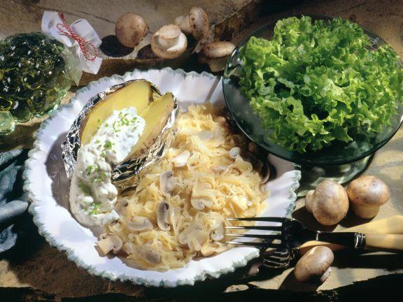 Champignon-Sauerkraut mit Sahnekartoffel