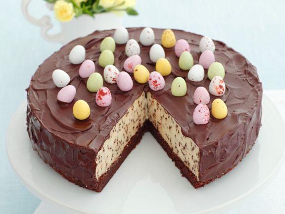 Cheesecake mit Chocolatechips und Schokoladenglasur