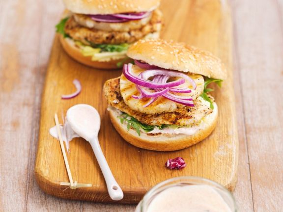 Chicken Burger mit Ananas