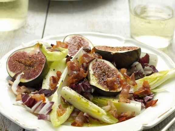 Chicorée mit gegrillten Honig-Feigen und Pancetta