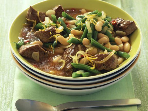 Chili-Lammragout mit gemischten Bohnen